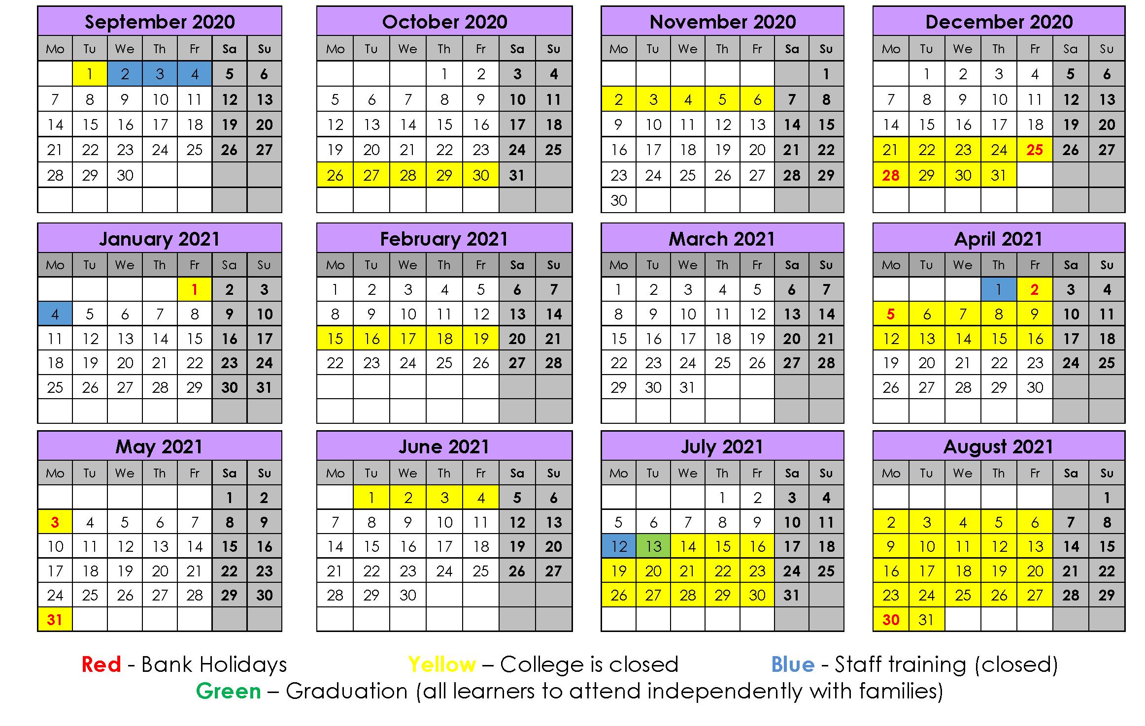College Calendar 2020-21